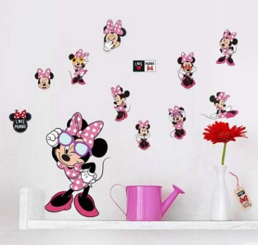 (SeedWorld Wall Stickers - Cartoon Mickey Minnie Mouse Baby Home Decals Wall Stickers for Kids Room Baby Bedroom Wall Art Nursery Amusement Park DIY Poster 1 PCs)