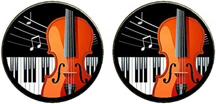 GiftJewelryShop Bronze Retro Style Music Piano And Cello Photo Clip On Earrings 14mm Diameter
