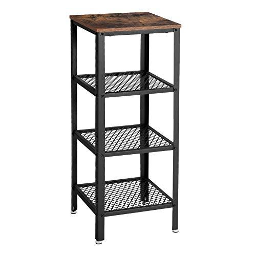 VASAGLE Vintage 4-Tier Bookshelf, Storage Shelf, Display Rack Shelves, for Entryway Living Room Bedroom Bathroom Kitchen, Wood Look Accent Furniture with Metal Frame ULSS04BX