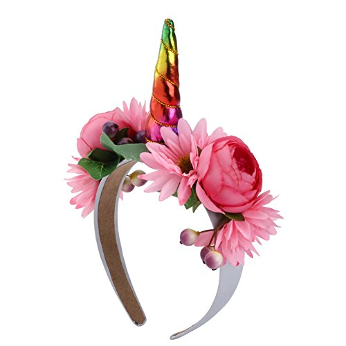 Unicorn Horn Costume Headband (Girl Unicorn Horn Headbands Cosplay Costume Makeup Party Headdress Rose Flower Hair Band (Rainbow))