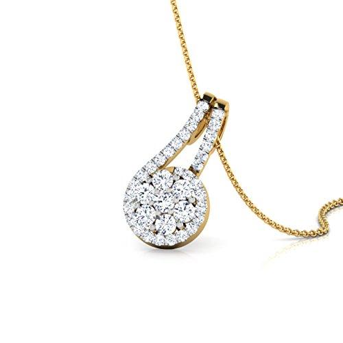 14K Or blanc 0.25CT TW Round-cut-diamond (IJ | SI) Pendentif