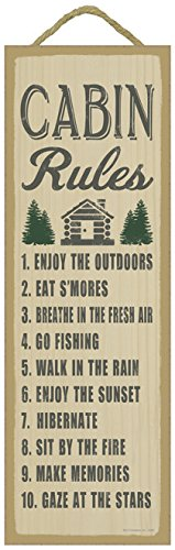(SJT02545) Cabin Rules (cabin & tree image) lodge / cabin primitive wood plaques, signs - measure 5