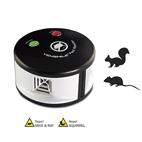 Squirrel Deterrent (Vensmile Ultrasonic Rodents and Squirrels Repeller Pressure Wave Pest Deterrent Control Chaser Mouse Mice Rats and Insects Indoor Use)