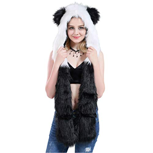 HatButik Panda Faux Fur Animal Hood Anime Scarf Mittens Gloves Scarf 3 in 1 Zipper Pocket]()