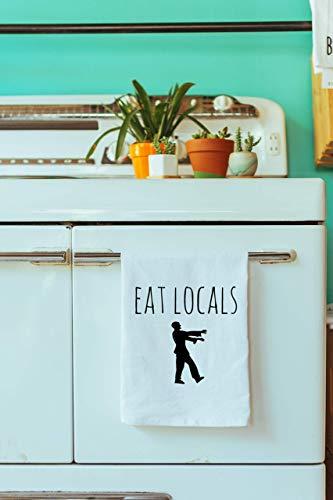 Funny Kitchen Cloth ~ Funny Dish Towel ~ Eat Locals Zombie Tea Towel]()