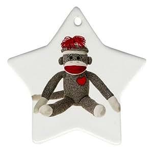 Amazon.com: Sitting Sock Monkey Star Shaped Porcelain