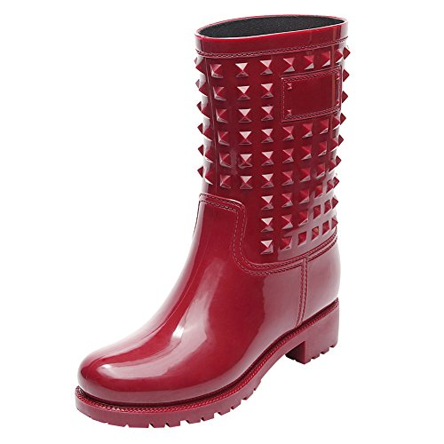 Outdoor with Heel Boots Rain Mid Women's Calf Jamron Wellington Stylish Red Slip Boots Studs Punk On Chunky Snow Style wOYq8t6x
