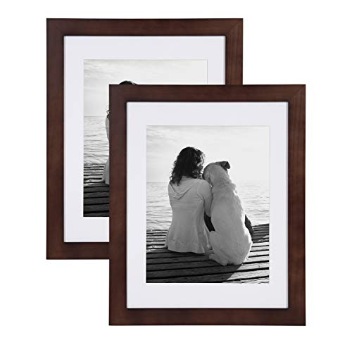 DesignOvation Museum Wooden Traditional Picture Frame Set, 14x18 matted to 11x14, Walnut Brown ()
