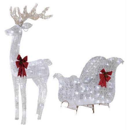 Holiday Time Christmas Decor 52IN REINDEER & 40IN SLEIGH WITH 120 WHITE LED LIGHTS (Reindeers Led)