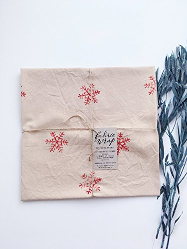 GIFT WRAP, Fabric Wrap™, Red snowflakes, eco friendly reusable, holiday, present, natural, rustic, farmhouse, cottage Active by Sweetgrass Paper Company