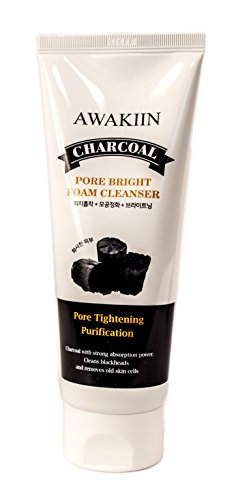 Korean Skin Care Charcoal Face Wash, Skin Brightening Foaming Facial Cleanser