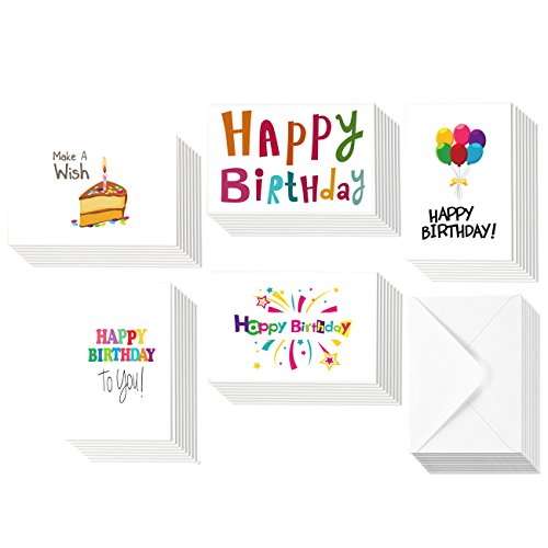 Nice Birthday Cards (48 Assorted Bulk Pack Funny Happy Birthday Cards Greeting Cards - 6 Colorful Modern Designs - Blank on the Inside - 4 x 6 inches with White Envelopes)
