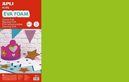 APLI Kids - Bolsa goma EVA verde claro, 400x600x2mm 5 hojas ...