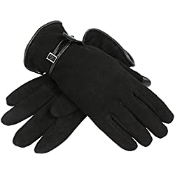 OZERO Leather Gloves for Women, Deerskin Suede Riding Motorcycle Driving Winter Work Glove - Sensitive Touch Screen Fingertips and Silky Velour Fleece Lining - Warm Hand in Cold Weather (Black,Small)