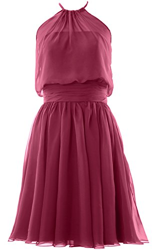 MACloth Women Halter Chiffon Short Bridesmaid Dress Cocktail Formal Party Gown Wine Red