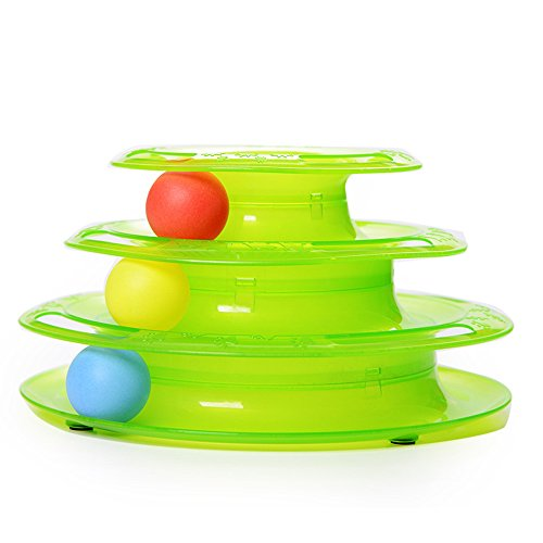 Plastic Three Levels Tower Tracks Disc Cat Toy Amusement Shelf Play Station Pet Cats Triple Play Disc Ball Toys green