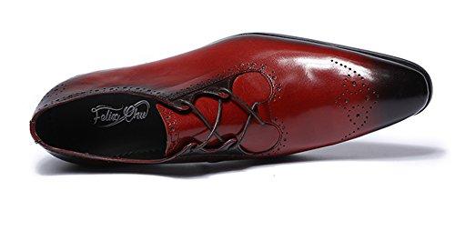 Felix Chu Men's Italian Designer Luxury Perfect Genuine Calf Leather Shoes Men Dress Shoes Men Wedding Shoes Men Office Business Shoes Red outlet comfortable s5ZuDK