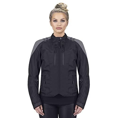 Viking Cycle Ironborn Motorcycle Textile Jacket for Women (Large, Grey) (Textile Motorcycle Jacket)