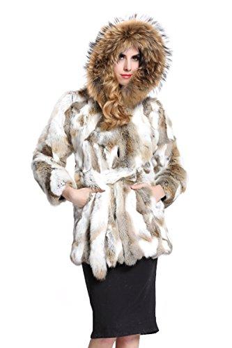Topfur Women's Coat Rabbit Fur Outerwear Raccoon Fur Visor Overcoat(US - Kodak Bearing