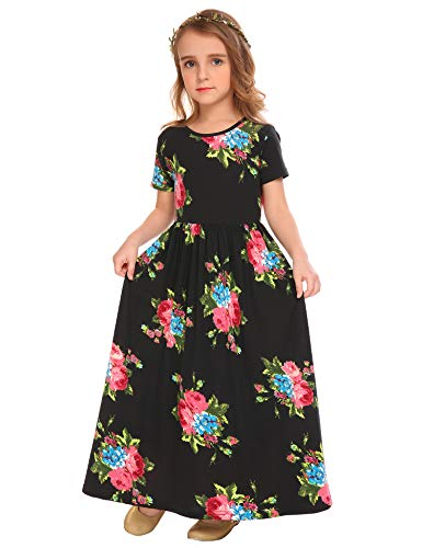 Arshiner Girls Maxi Dress Short Sleeve Floral Print Pleated Long Dresses Black ()