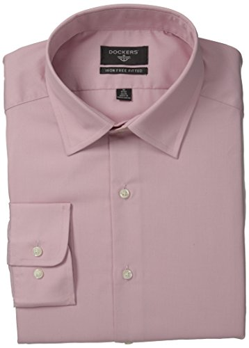 Dockers Men's Non-Iron Fitted End On End Solid Dress Shirt, Light Pink, 15.5x34/35