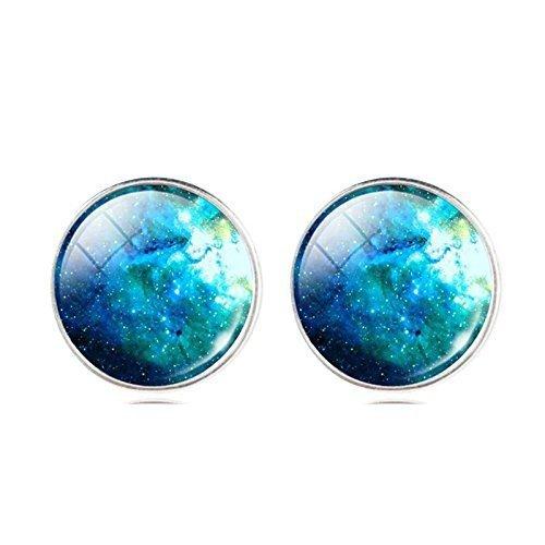 Vintage Blue Galaxy Space Glass Cabochon Earrings Accessories-Antique Earrings-Fashion Star Moon Summer Style Fine Ear Rings-Art Stud Earrings-Silver Post Jewellery-Handmade Jewelry