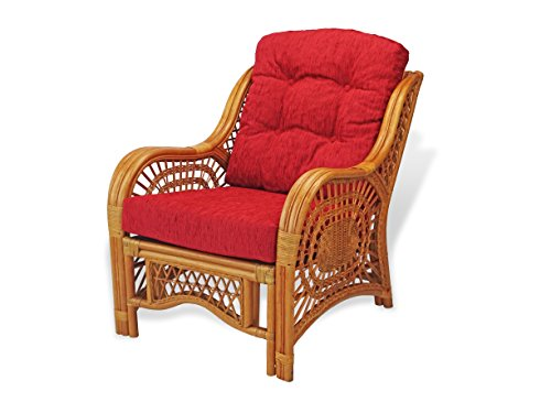 Lounge Arm Chair ECO Natural Handmade Rattan Wicker with Red Cushions Color Cognac price