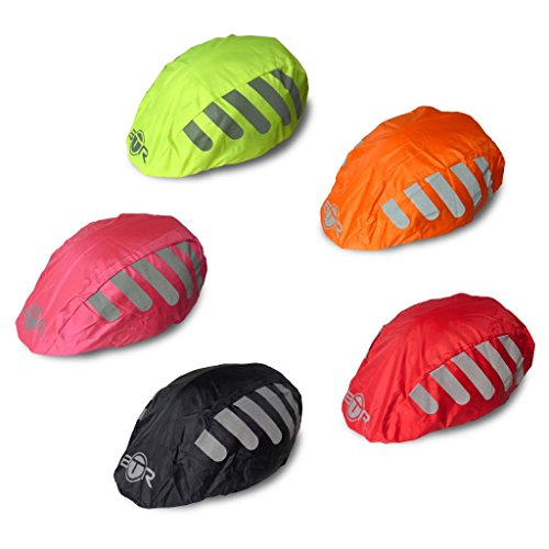 BTR High Visibility ORANGE Universal Size Bike / Bicycle Waterproof Helmet Cover With Reflective Stripes – One Size Fits All For Sale