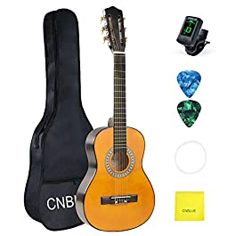 Beginner Guitar Acoustic Classical Guitar 30 Inch Nylon Strings Wooden Guitar 1/2 Size Guitar for Beginners Kids With…