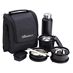 Oliveware Teso Lunch Box with Bottle - Black | 3 Stainless Steel Containers and Pickle Box and Assorted Steel Bottle… 5 41eFLE5E4oL. SS300