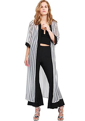 MissShorthair Womens Chiffon Kimono Cardigans Long Blouse Sheer Cover Ups (Short Duster Sleeve)