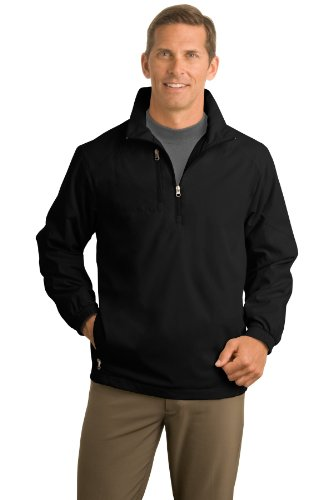Half Zip Wind Jackets - Port Authority Men's 1/2 Zip Wind Jacket L Black