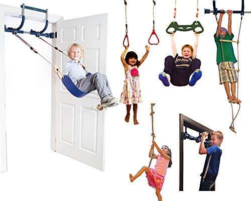 Gym1 Deluxe Indoor Playground with Indoor Swing, Plastic Rings, Trapeze Bar, Climbing Ladder, and Swinging Rope