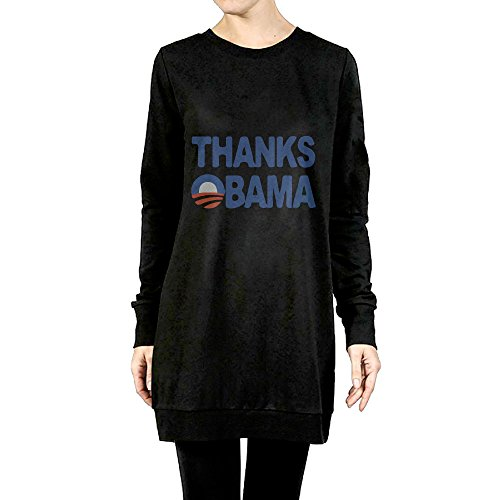 Thanks Obama 2008-2016 Cotton Women Hoodie Sweatshirt Pullover Round Neck Long (President 2008 Hooded Sweatshirt)