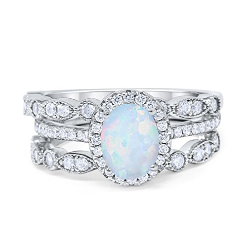 Blue Apple Co. Three Piece Halo Art Deco Wedding Band Engagement Ring Oval Created White Opal Simulated Round Cubic Zirconia 925 Sterling Silver, Size - 6