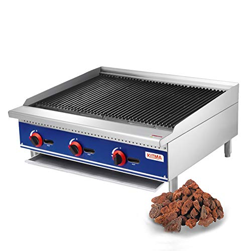 Kitma Commercial Countertop Lava Rock Charbroiler 36 Inches Natural Gas Char Rock Broiler with Grill - Restaurant Equipment for Barbecue ()