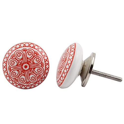 (Set of 12 Pieces Metal & Ceramic Red Daisy Cabinet Knobs & Pulls Handmade Designer Silver Finish)
