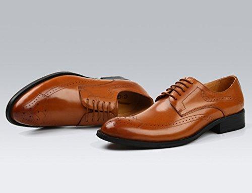 Herren Lederschuhe Herren Lederschuhe Retro britischen Stil wies Business Formelle Abnutzung Spitze einzelne Schuhe Herrenschuhe ( Farbe : Schwarz , größe : EU40/UK6.5 ) Yellow-brown