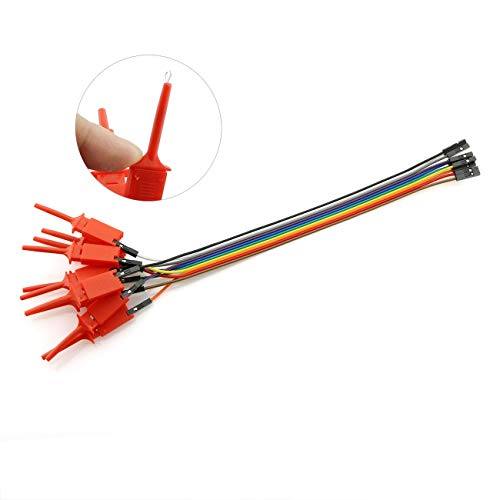 RuiLing 10 in 1 Test Probe Hook SMD IC Test Hook Clip Jumper Flat Small Grabber Logic Analyzer Testing Accessories Red 200mm