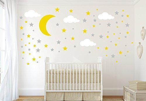 amazon com moon and cloud wall decals moon stars and clouds