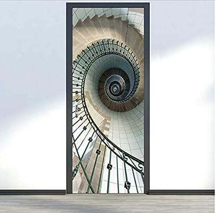ksufnjerls Escalera De Caracol De Pared Cartel De Imitación 3D Etiqueta De La Puerta Impermeable Cartel Salón Baño Etiqueta De La Pared Decoración para El Hogar 95x215cm: Amazon.es: Hogar