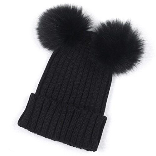 Amiley Women Winter Warm Hats Crochet Knit Hairball Beanie 2 Pom Pom Cap (Black)