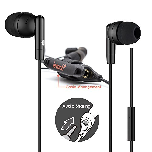 letech+ ISHARE in-Ear Wired Earbuds Headphone with Mic and Remote,Audio Splitter,Stereo Sound for iPhone Android Devices (Free Style Black)