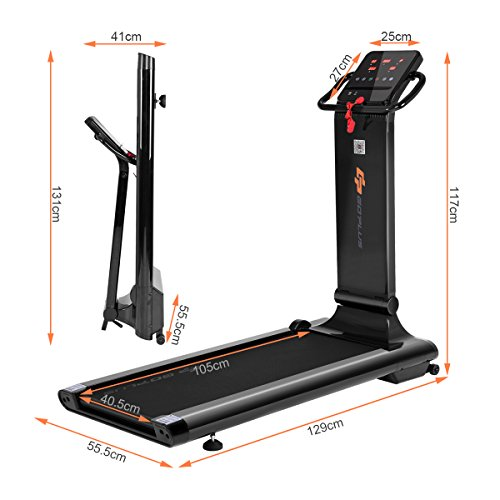 Goplus 1.5HP Electric Folding Treadmill Portable Motorized Running Machine Home Gym Cardio Fitness w/ App (Black)