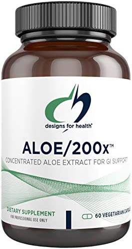 Designs for Health Aloe 200x – 200mg Organically Grown Aloe Vera Concentrate 60 Capsules