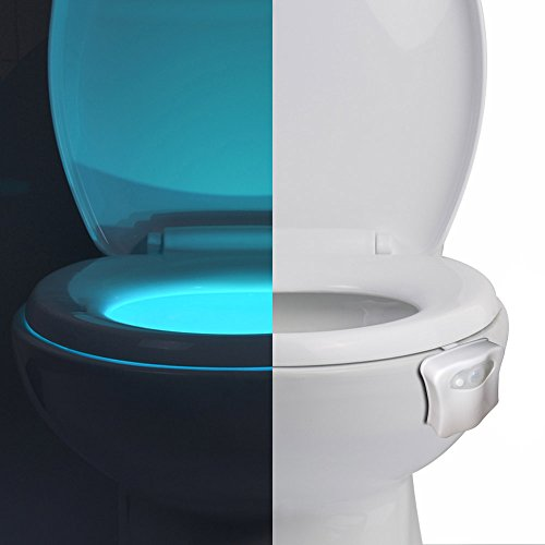 Toilet Bowl Light, Universal Motion-Activated Light, LED GO-and-Glow nightlight, 8 Color Options and Color Rotate Mode for Nighttime Trips to Bathroom by Delamu