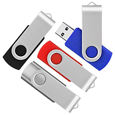 KEATHY 5 Pack 32GB USB Flash Drive 32 gb Thumb Drive Memory Stick Swivel Keychain Design (5 Mixed Colors:Black,Blue,Pink,Red,Purple) by KEATHY