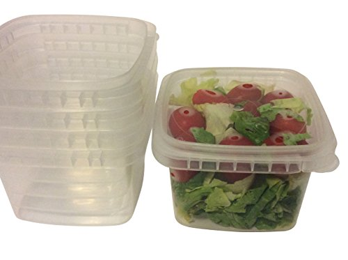 Space Saver Deli Food Storage Containers With Lids 16 Oz Tamper evident security system Leak Proof- easy stackable - Restaurant Take Out container -Freezer microwave dishwasher safe -25 sets