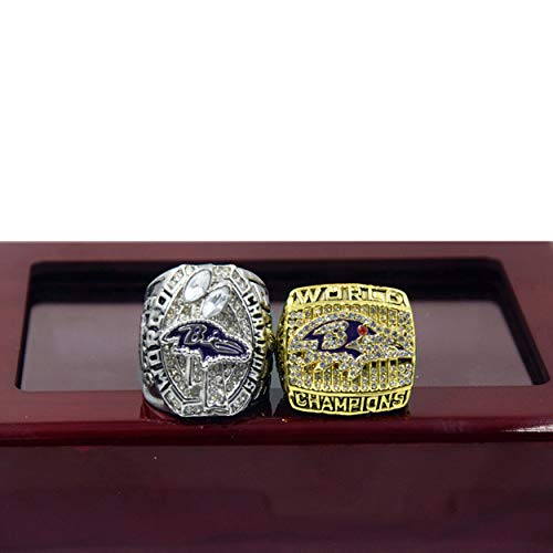 2PCs 2000 2012 Baltimore Ravens Super Bowl Championship Rings Set Replica Fan Men Gift Baltimore Ravens Super Bowl