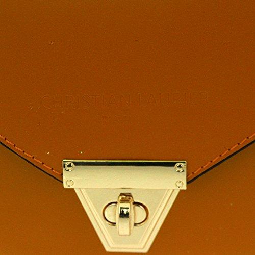 Christian Laurier - Sac à main en cuir modèle Bey camel - Sac à main seau avec frange haut de gamme fabriqué en Italie